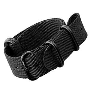 Nylon Watch Strap by ZULUDIVER®, IP PVD Black ZULU Buckles, Black, 22mm