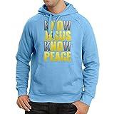 lepni.me Kapuzenpullover Kennst du Jesus, kennst du Frieden! Jesus rettet euch! - Ostern - Auferstehung - Krippe, Christliche Kleidung (Large Blau Mehrfarben)