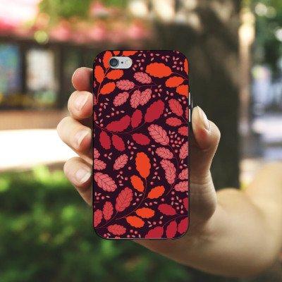 Apple iPhone X Silikon Hülle Case Schutzhülle Blätter Herbst Ranken Silikon Case schwarz / weiß