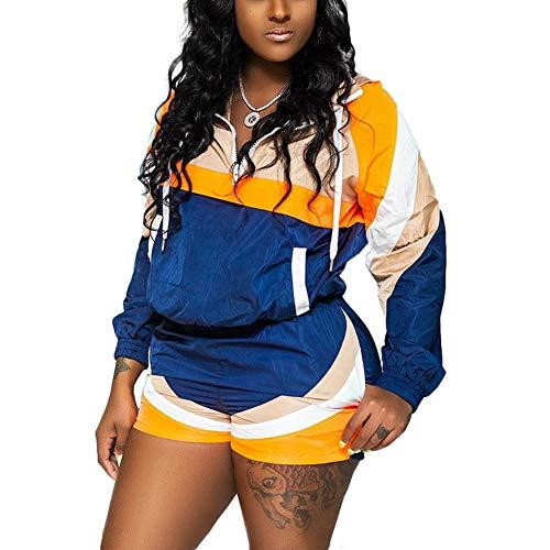 Sweatsuit Jacke Hose (Tidec Damen 2-teiliges Outfit Colorblock Windbreaker Jacke Pullover Tops und Shorts Sweatsuits Trainingsanzüge Set Outfits Gr. 38 DE Etikett X-Large, blau)