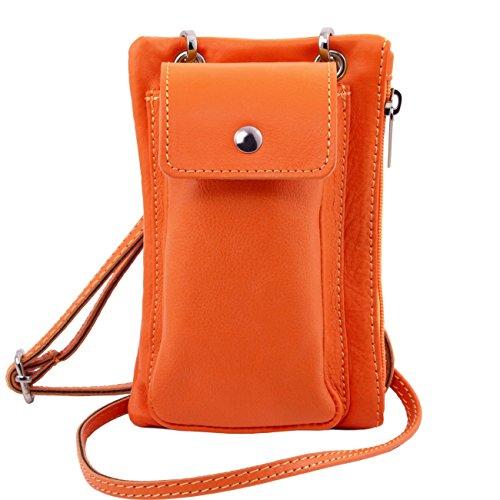 Tuscany Leather TL Bag Tracollina Portacellulare in pelle morbida Celeste Arancio