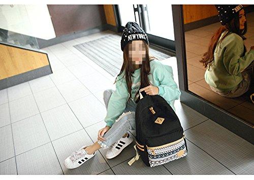 Fashion Mädchen Schulrucksack Damen Canvas Rucksack Teenager Baumwollstoff Schultasche Outdoor Freizeit Daypacks mit Schicker Lace Schwarz
