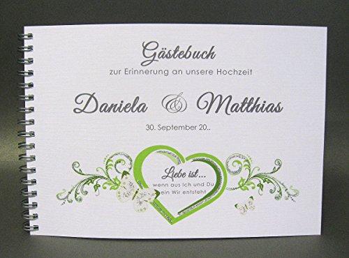 Gästebuch zur Hochzeit mit Namen 80014 grün, Spiralbindung zum kleinen Preis!!