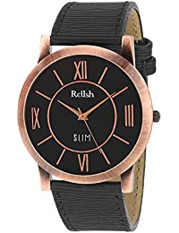 RELISH RE-C8037CB Copper Case Black Dial Analog Watch For Mens & Boys