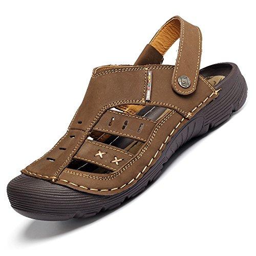Baotou Cool pantofole, sandali, ciabatte da spiaggia casual, traspirante Dark Brown