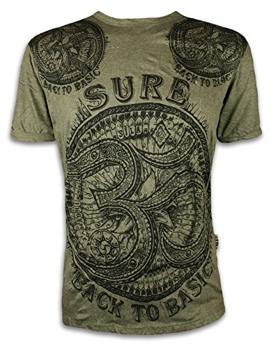 Sure Herren T-Shirt Om Aom Symbol Heiliges Buddhismus Hinduismus Yoga Zeichen (Olive Grün L)