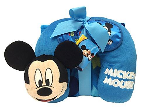 Disney Mickey Mouse 3Stück Travel Set mit 101,6x 127cm Kuscheldecke, Plüsch Nackenkissen, Eye Mask (Offizielles Produkt) - Kleid Duschvorhang