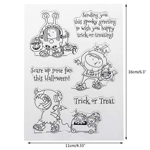 Yiyilam PVC Stempel Siegel Halloween niedlich Monster Girl Patterns DIY Scrapbook Fotoalbum Karte Tagebuch Dekor englische Buchstaben, perfekt für DIY Grußkarte Notebook Einladung Karte (Diy Halloween-karten Niedlich)
