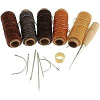 Sharplace 14pcs Hilo Encerado Agujas de Coser de Cuero Conjunto de Herramienta de Costuras