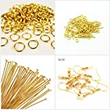 AM Jewelry findings gold -pack of headpins & eyepins,jump rings,ear hook clasps