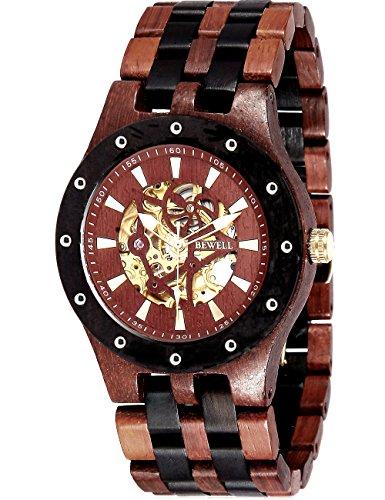 Holzuhren mechanische Automatik Skelett Armbanduhr Uhren Herren