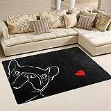 Use7 Rutschfeste Fußmatte für Haustiere, Bulldogge, Hund mit roten Herzen, für Wohnzimmer, Schlafzimmer, 50 x 80 cm