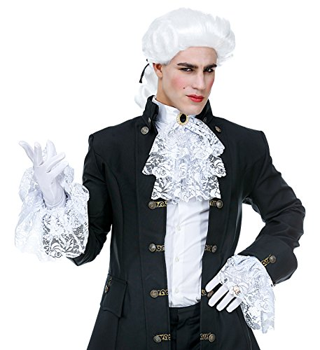 Panelize Spitzenjabot Jabot mit Manschetten + Spitzenärmel + Handschuhe Mittelalter Baron Marquis