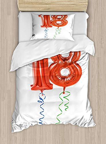 Trsdshorts 18th Birthday Duvet Cover Set Twin Size, Flying Party Balloons with Curly Ropes 18 Years Old Image Art Print, Decorative 2 Piece Bedding Set with 1 Pillow Sham, Red Green and Blue