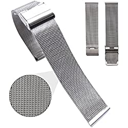 Mallom® Stylish Stainless Steel Watch Band 24mm Watch Strap Silver