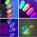 Veena 12Bottles Nail Glitter Noctilucent Powders Fluorescent Pigment Strontium Aluminate Luminous Powder Manicure Nail Art Decorations