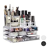 Relaxdays Make Up Organizer Acryl, 2-teilige Schminkaufbewahrung mit Lippenstifthalter und 4 Schubladen, transparent