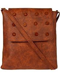 Zapatoz Women's Plain Brown Leatherite Sling Bag (Sling-E1-Brown)