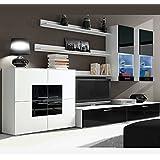Muebles Bonitos – Mueble de salón Violeta blanco y negro modelo 3 (3 m)