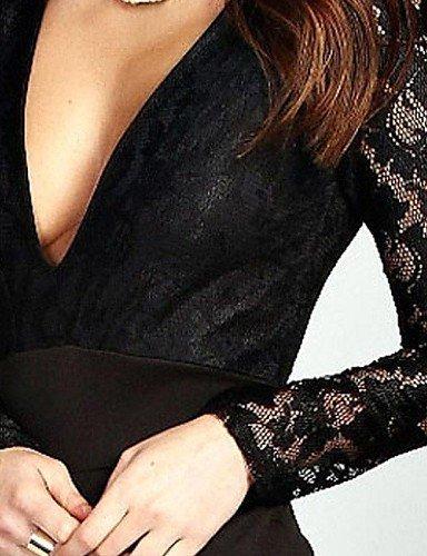 GSP-Manches longues en dentelle Plunge des femmes Jupe Salopette black-m