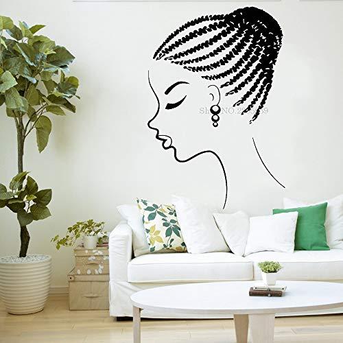 Ajcwhml Junge Mode afrikanische mädchen wandtattoo schönheitssalon Frau Gesicht afrikanischen Stil tapetenkunst Schlafzimmer Wohnzimmer M 56 cm x 82 cm