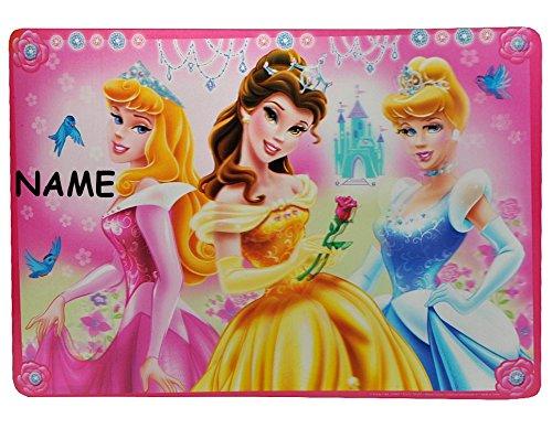 3-D Unterlage -  Disney Princess / Prinzessin  - mit Wunschnamen - Tischunterlage / Platzdeckchen / Knetunterlage / Malunterlage - Mädchen Belle Prinzessinn