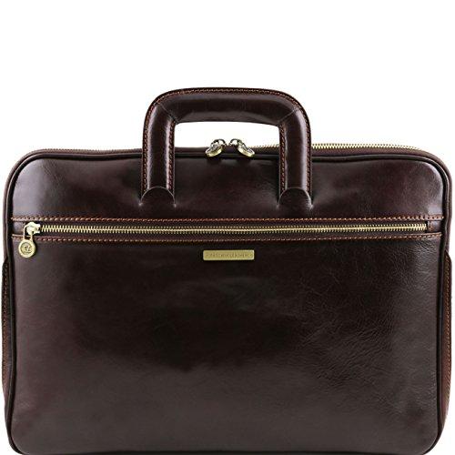 Tuscany Leather Caserta - Dokumenten - Tasche aus Leder Dunkelbraun Konferenzmappen Dunkelbraun