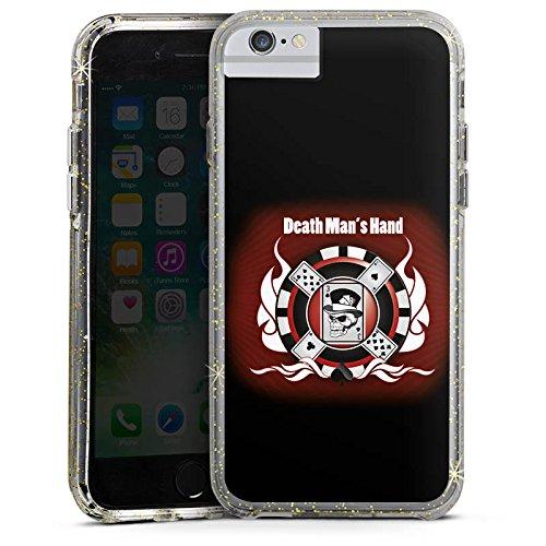 Apple iPhone 6s Bumper Hülle Bumper Case Glitzer Hülle Cards Karten Totenkopf Bumper Case Glitzer gold