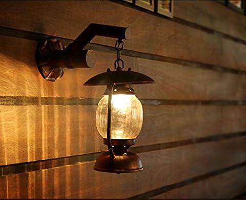 GFFORT lampe murale allée country américaine lanterne kérosène rétro balcon café créatif E27 murs grenier, lampes en fer forgé, longue 320 large 190 haute 400mm, 220v