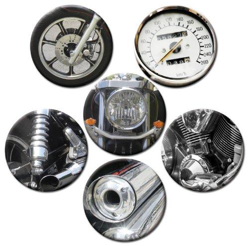 Kühlschrankmagnete Motorrad Teile Magnete für Magnettafel stark 6er Set groß rund 50mm mit Motiv...