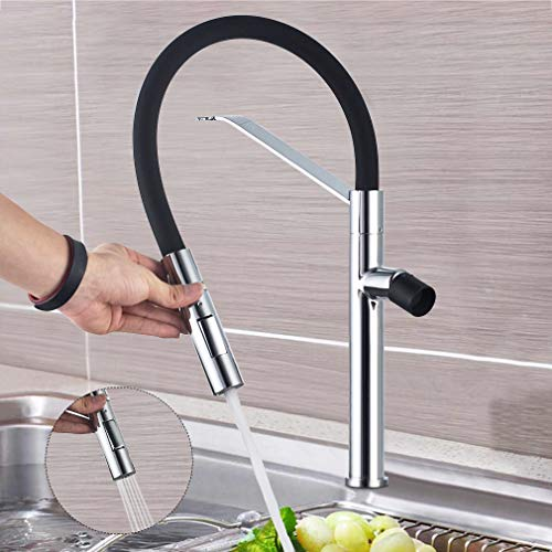 BONADE Wasserhahn Küche Armatur mit Dual-Spülbrause, 360° drehbare Mischbatterie, Schwarze Spültischarmatur mit hoher Auslauf, Einhebel Spiralfederarmatur für Küche Spüle, aus Messing Chrom -