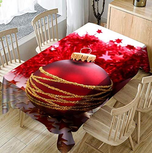 MMSM Weihnachten 3D Digital Gedruckt Tischdecke Rechteckigen Weihnachten Tischabdeckung Für Esszimmer Und Küche 150 * 300 cm,Red-140 * 180CM