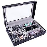 Meshela Boîte à Montre Coffre à Lunettes de Soleil 6 Emplacements Montre 3 Emplacements Lunettes Eyewear Affichage étui de Rangement Plateau Organisateur Noir
