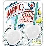 Harpic - Bloque de WC Stop Bacterias con lejía, aroma de limón, 2 guijarros