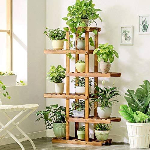 5 Tier-massivholz (WI Indoor Flower Stand , Flower Rack 5-Tier Massivholz Asymmetrisch Stehend Flower Pot Rack Balkon Wohnzimmer Indoor , Haushalt Flower Stand,Carbon geröstete Farbe)