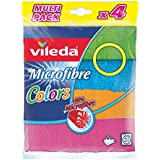 Vileda Microfibre Colors Pack de 4 Chiffons Lavettes Multi-Usages