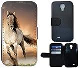 FioMi-Protect Cover Schutz Hülle Handy Tasche Etui Case Flip für (Samsung Galaxy S4 Mini i9190 i9195, 1005 Pferd Braun Weiß Hengst)