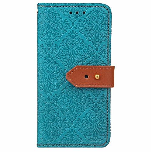 Für Samsung Galaxy J7 Prime Cover Case Mural Pattern Embossed Blumen Horizontal Flip Stand Case PU Leder Wölbung Abdeckung Fall mit Karte Bargeld Halter & Lanyard ( Color : Rose Gold ) Blue