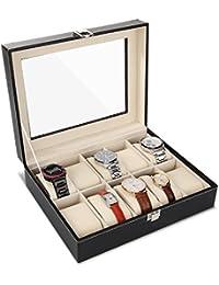PRASACCO Uhrenbox für 10 Uhren Uhrenkasten mit Glasdeckel Uhrenkoffer Schaukasten Uhrenvitrine aus PU-Leder