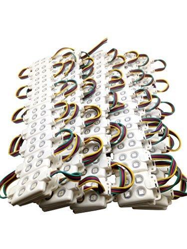 YXH® LED Modul RGB 100 St. 12V (4LED Einspritzmodul-Kit Quadratische) für DIY, LED-Beleuchtung Buchstaben Zeichen Billboard Licht, drinnen draußen Wasserdichte 5050 SMD (20 Stück/ Schnur) -