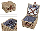Picknick-Korb, blau-weiß, gestreift | Picknick-Set für 2 Personen | 14 Teile