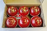 6Stück Premium Qualität 51/2oz Hand genäht Leder Match Cricket Bälle rot Tyagi racingtm
