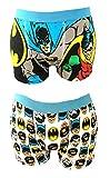 MENS 2 Pack CHARACTER NOVELTY BATMAN TRUNKS (Batman Robin and Faces L)