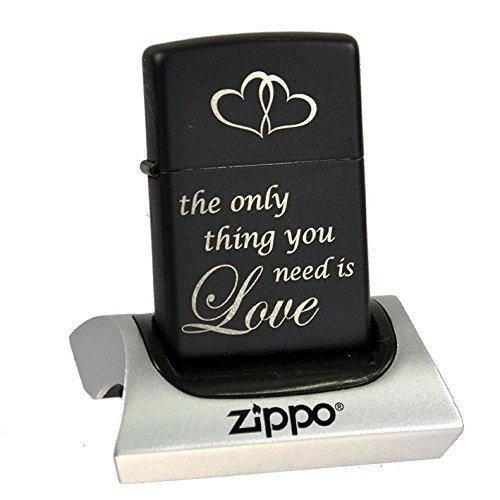 Zippo schwarz matt graviert - Love