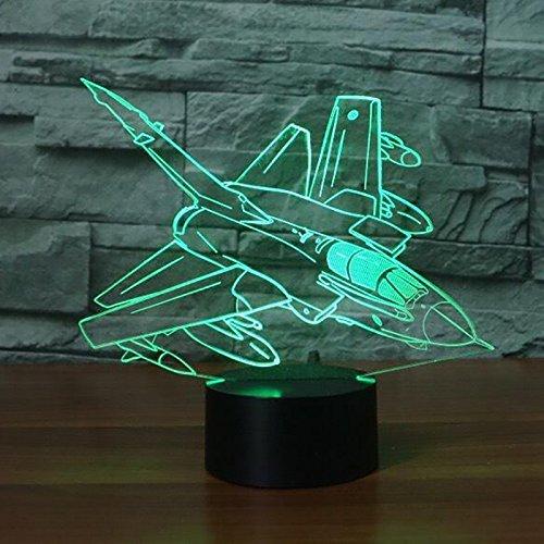 Jinson well 3D flugzeug Lampe optische Illusion Nachtlicht, 7 Farbwechsel Touch Switch Tisch Schreibtisch Dekoration Lampen perfekte Weihnachtsgeschenk mit Acryl Flat ABS Base USB Kabel kreatives Spielzeug