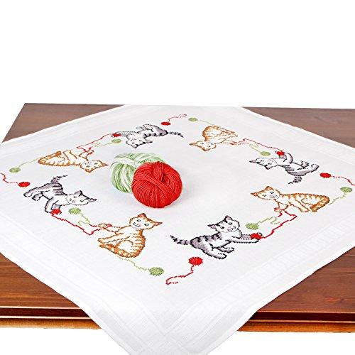 Stickpackung Katzen, Komplettes vorgezeichnetes Kreuzstich Tischdecken Set Zum Sticken, Stickset mit Stickvorlage