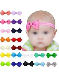 Hosaire 17 Piezas Bebé Bowknot Mini Diadema Elástica Venda para niños niñas(Color aleatorio)