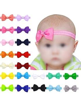 Hosaire 17 Piezas Bebé Bowknot Mini Diadema Elástica Venda para niños niñas