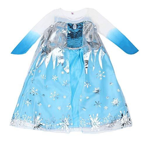 Sen-Sen Neue Prinzessin Mädchen Kostüm Party Phantasie Schnee einfrieren Königin Cape Kleid blau 140 - Schnee Königin Kostüm Zubehör