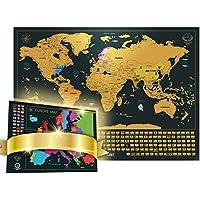 Mappa del mondo con bandiere da grattare + Mappa dell'Europa in Regalo (Mappa del mondo 61 x 42.7 CM ,Mappa dell'Europa 46 x 33 CM)